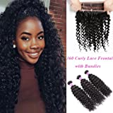 YoungFace 8A 360 Curly Lace Frontal with Bundles Brazilian Kinky Curly Virgin Hair 3 Bundles with 360 Lace Frontal 100% Unprocessed Hair Extensions Natural Color (18 20 22+16 360 frontal)