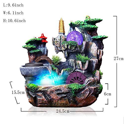 (Statues Water Ornaments,Rockery Water Tabletop Fountain with Light Wind Turbine Indoor humidifier-Flowing Water Ornaments)