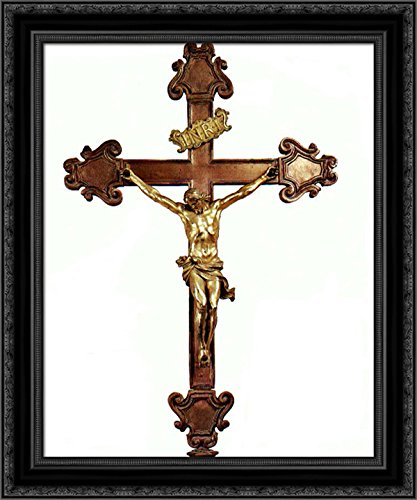 Cross Lorenzo - Altar Cross 24x20 Black Ornate Wood Framed Canvas Art by Gian Lorenzo Bernini