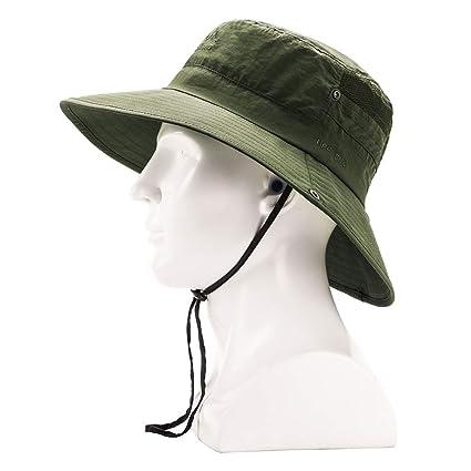 5d574750a00ea2 Outdoor Safari Boonie Fishing Hat, Mesh Wide Brim Bucket Summer Hat, Waterproof  Sun Protection