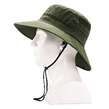 cf32b977c Outdoor Safari Boonie Fishing Hat, Mesh Wide Brim Bucket Summer Hat,  Waterproof Sun Protection Camping Hiking Beach Sun Caps, Quick-Dry  Adjustable ...