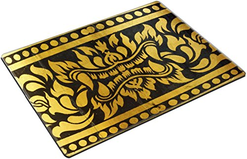 MSD Place Mat Non-Slip Natural Rubber Desk Pads design 28157760 detail of thai pattern that made by covered wood plate with gold leaf for (Thai Gold Plate)