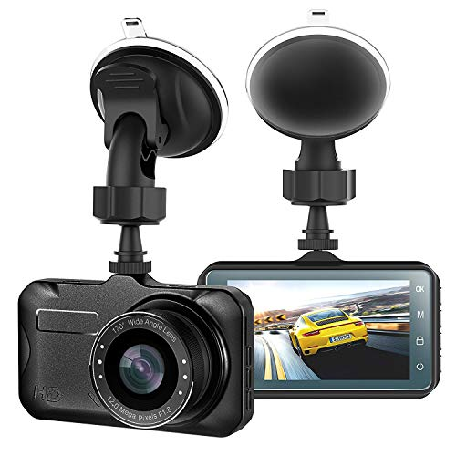 CHICOM 3 Dash Cam Full HD 1080P, 170 Degree Wide Angle LCD Dashboard Camera Car Video Recorder with Night Vision, G-Sensor, WDR, Loop Recording, Motion Detection, Parking Monitor
