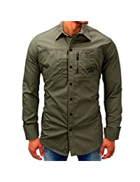 Wintialy Men Long-Sleeve Beefy Button Basic Solid Blouse Tee Shirt Top Army Green
