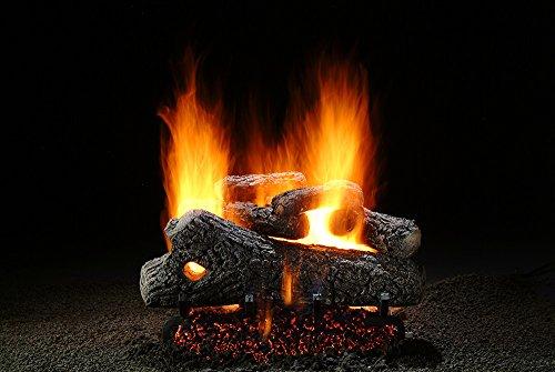 Oak Classic Vented Gas Logs (Premium Hargrove Classic Oak 18 inch Gas Log Set with Burner)
