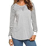 2dd621416 Keliay Bargain Women Casual O-Neck Stripe Long Sleeve Cotton Splice Sweat T- Shirt