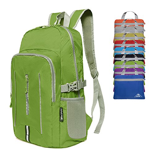 Bagail 25L Ultra Lightweight Packable Daypack Durable Waterproof Travel Hiking Backpack (Lime Green)