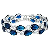 EVER FAITH Women's Prong Cubic Zirconia Vintage Style Dual Layer Tear Drop Bracelet