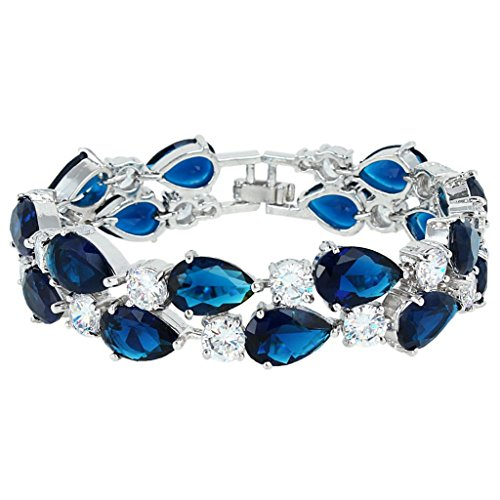 EVER FAITH Silver-Tone Zircon Elegant Layers Teardrop Tennis Bracelet Clear (Roman Head Wear)