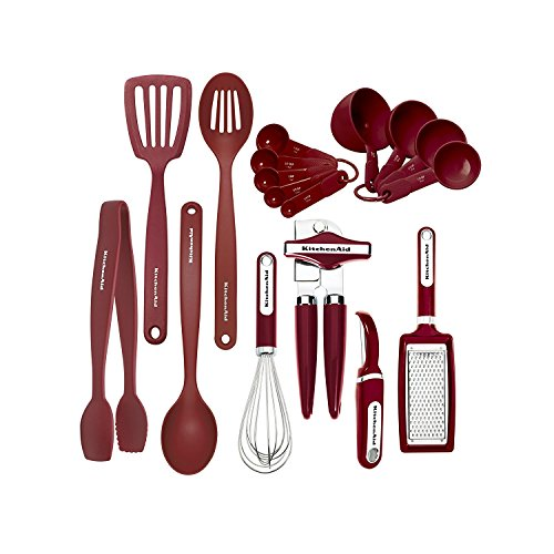 (KitchenAid KC448BXERA 17-piece Tools and Gadget Set, Red)