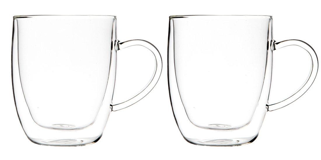 Lily/'s Home Double Wall Thermo Insulated Large Glasses Espresso 17.5 oz. Each, Set of 2 Coffee and Other Hot or Cold Beverages Heat Resistant and Ideal for Tea
