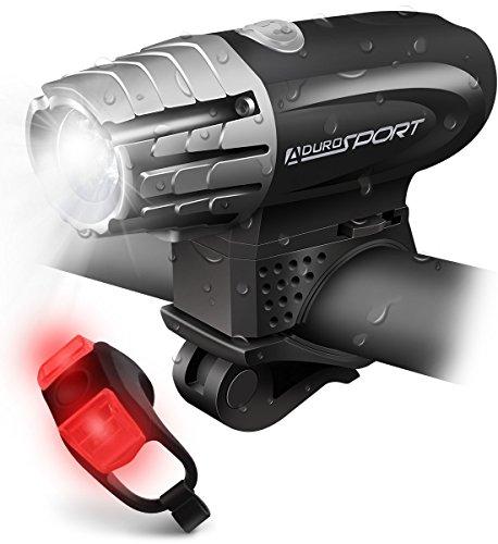 Aduro Sport LED Bike Light Kit - Rechargeable Bicycle Headlight + Rear Tail Light, 4 Super Bright Front Light Modes, Certified Water Resistant, Easy To Install, Keeps you Safe on the Road