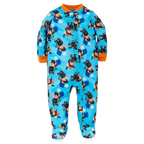 Pajamas Footed Monkey (Little Me Baby Boys Monkey Baseball Zip Footie Pajamas Footed Sleeper Blue 18M)