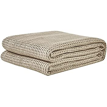 PHF Cotton Waffle Weave Bed Blanket Christmas Decorations Perfect for Bed Home Decor for All Season Queen Size Khaki