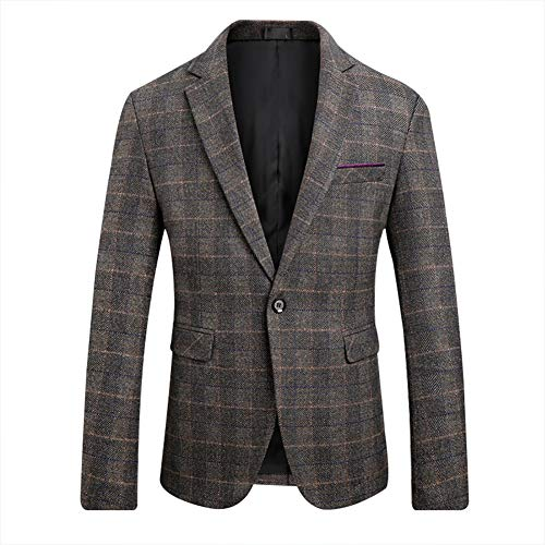 Men's Blazer Jacket Herringbone Sport Coat Smart Formal Dinner Cotton Suits Slim Fit One Button Notch Lapel Coat Coffee