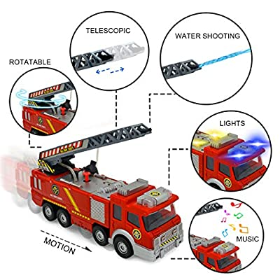 Electronic Power Fire Truck Car Toy for Toddlers Kids Boys Girls Birthday Christmas Gifts - Realistic Firetruck Toy with Water Shooting & Lights & Sounds & Extending Ladder Functions: Toys & Games