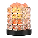 Himalayan Salt Lamp,Real Natural Pure Himilian Himalayan Pink Sea Salt Rock Light with Crystal Wood Base Touch Dimmer Switch UL Listed