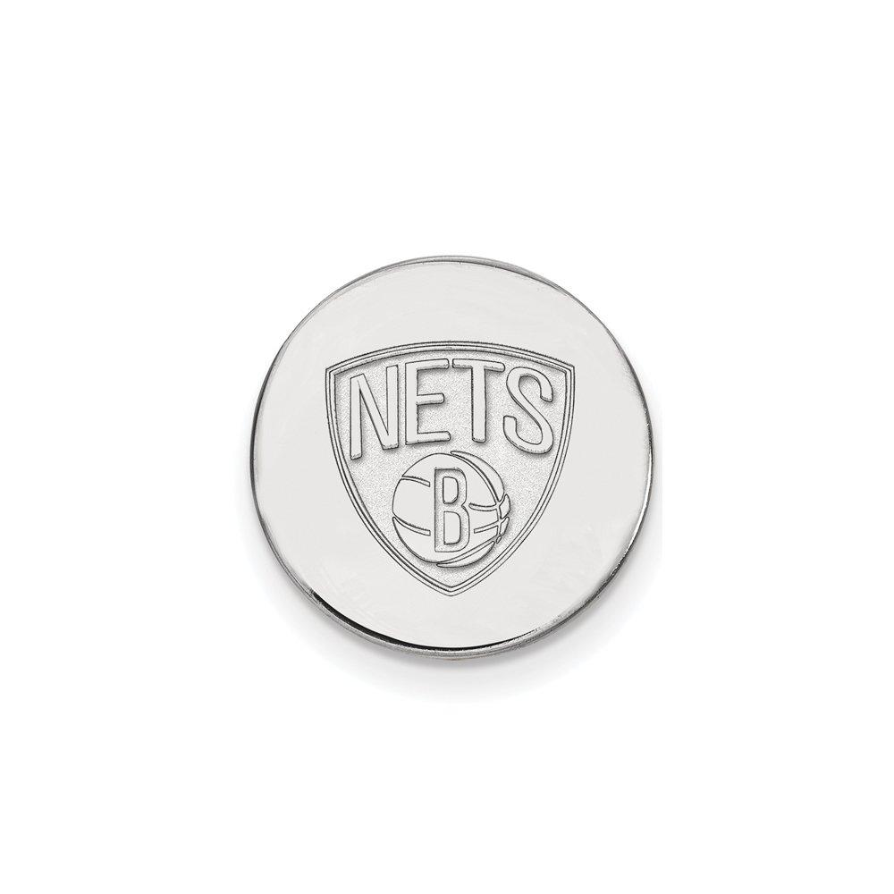 NBA Brooklyn Nets Lapel Pin in 14K White Gold
