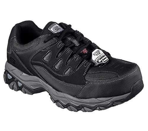 Skechers Work Holdredge ST Mens Steel Toe Sneakers Black 9.5 (Leather Steel Toe Sneakers)
