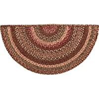 VHC Brands 45592 Burgundy Primitive Country Flooring Cider Mill Half Circle Jute Rug, Red