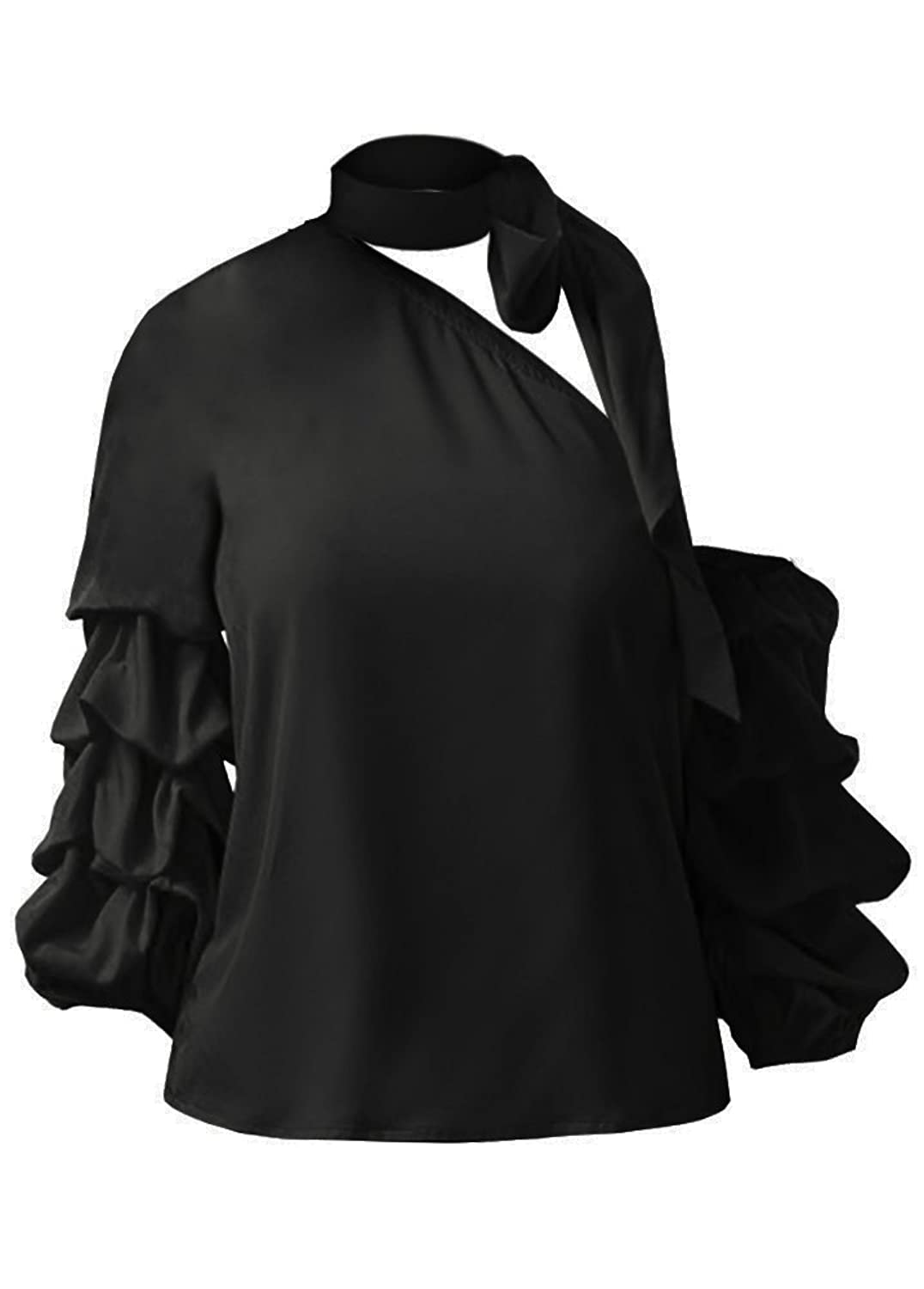 ouxiuli Women Off Shoulder Top Casual Flare Long Sleeve T Shirts Pullover