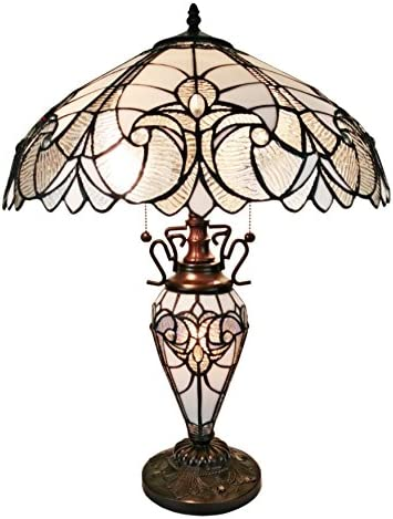 Tiffany Style Table Lamp Banker Glass Base 23″ Tall Stained Glass White Grey Mahogany Elegant Vintage Light D cor Living Room Bedroom Office Handmade Gift AM203TL18 Amora Lighting