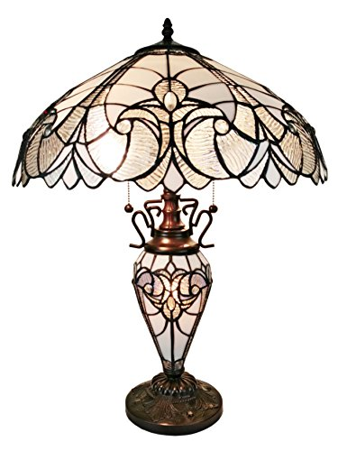 Tiffany Style Table Lamp Banker Glass Base 23 Tall Stained Glass White Grey Mahogany Elegant Vintage Light D cor Living Room Bedroom Office Handmade Gift AM203TL18 Amora Lighting