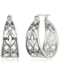 "Sterling Silver Bali Inspired Filigree Triangle Shape Hoop Earrings (1.0"" Diameter)"