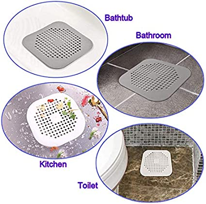Square Drain Cover for Shower TPR Drain Hair Catcher Flat Silicone Plug for Bathroom and Kitchen under sink Filter Shower Drain Protection Flat Strainer Stopper White