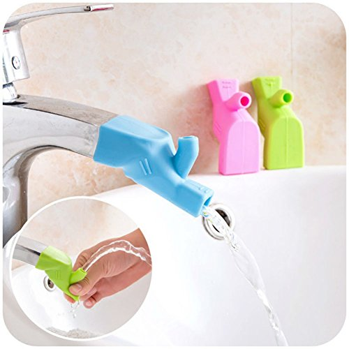 - AKOAK 3 Pieces Assorted Color Silicone Faucet Extender Tooth Brushing Gargle Hand Washing Extender Bathroom Kitchen Sink Faucet Silicone Extender Accessories