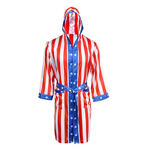 AMNPOLEN Adult Men Satin American Flag Boxing Costume Robe Cloak with -