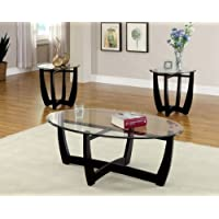 Furniture of America 3-Piece Jensen Table Set, Black Finish