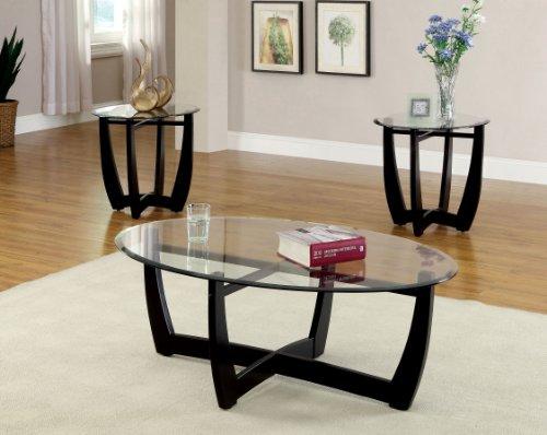Black Oval Base (Furniture of America 3-Piece Jensen Table Set, Black Finish)
