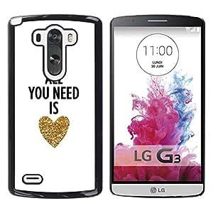 iKiki Tech / Estuche rígido - You Need Is Love Heart Gold Text White - LG G3 D855 D850 D851