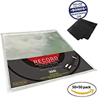 "Clear Vinyl Record Sleeves Combo (50 Inner, 50 Outer) 12"" Plastic Storage LP Protectors 