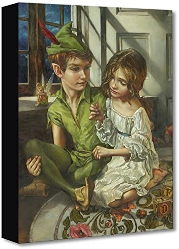 Disney Fine Art Sewn to His Shadow by Heather Edwards Treasures on Canvas Peter Pan 16 Inches x 12 Inches Reproduction Gallery Wrapped Canvas Wall Art
