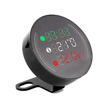 Herewegoo 1 Pcs 3 en 1 Motocicleta Digital LED Reloj Temperatura Temperatura Voltaje Termómetro Combo: Amazon.es: Hogar