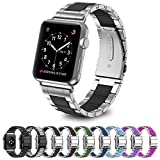 Greeninsync Strap Apple Watch 42mm Metal, Special Edition Apple Watch Stainless Steel Replacement Accessory Metal Band Wristbands Bracelet Strap W/ Silicone Cover Black for Apple Watch Series 3/2/1