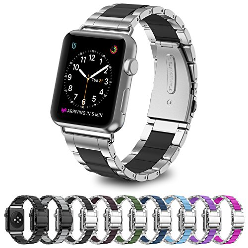 GreenInsync Strap Apple Watch 42mm Metal, Special Edition Apple Watch Stainless Steel Replacement Accessory Metal Band Wristbands Bracelet Strap W/Silicone Cover Black for Apple Watch Series 3/2/1