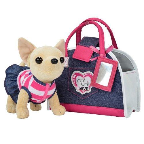 Simba 105890599 - Chi Chi Love Plüschhund 20cm mit Jeanstasche