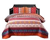Exclusivo Mezcla 100% Cotton 3-Piece Exotic Boho Queen Size Quilt Set as Bedspread/Coverlet/ Bed Cover- Lightweight, Reversible& Decorative