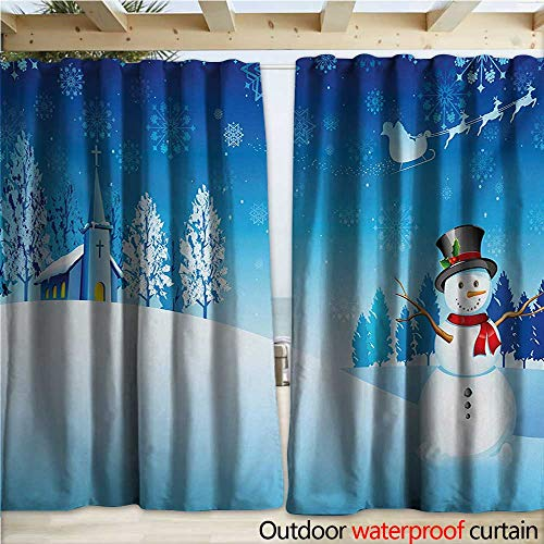 Outdoor Waterproof Curtain Snowman on The Christmas Eve Santas Sleigh in The Starry Sky Fantasy Artwork W108 x L96 Blue White ()