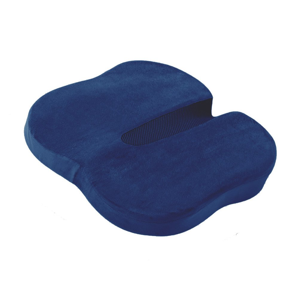 MOEEZE Butterfly-Shaped Memory Foam Seat Cushion with HANDLE ANTI SLIP BOTTOM Orthopedic Design to Relieve Back Pain Sciatica and Tailbone Pain (Navy Blue)