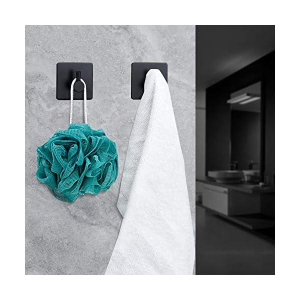 51WoRTn QEL HIRALIY Toilettenpapierhalter Schwarz ohne Bohren, Klopapierhalter Edelstahl, 2 Stück Selbstklebend Haken, Rostfrei, Für…