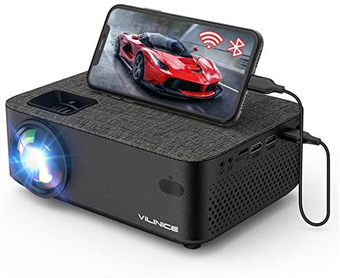 """WiFi Projector,VILINICE 5000L Mini Bluetooth Movie Projector ,Portable Phone Projector with Wireless Mirroring,1080P and 240"""" Supported, Compatible with Fire Stick,HDMI,VGA,USB,TV,Box,Laptop,DVD"""