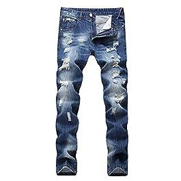 LAMCORD Men's Ripped Slim Fit Tapered Leg Skinny Jeans Biker Pants