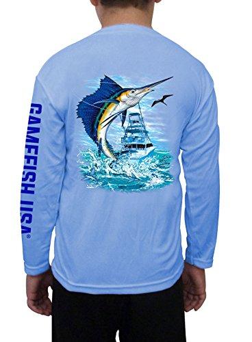 GAMEFISH USA Kid's UPF 50 Long Sleeve Microfiber Moisture Wicking Performance Fishing Shirt Sailfish Large - Shirt Boys Micro