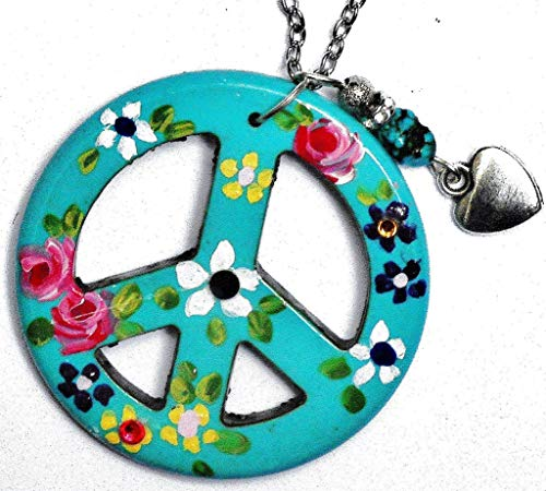 Long Hippie Peace Sign Necklace with Turquoise Nugget and Painted Flowers and Dangling Heart Charm