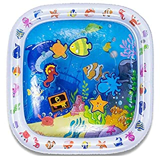 "Premium Tummy Time Water Playmat | tummy time mat Inflatable Infant Baby Toys & Toddlers Fun Activity Play Center for Boy & Girl Growth Brain Development BPA-Free Baby Toys for 3-12 Months (22""x22"")"