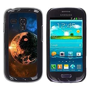 QCASE / Samsung Galaxy S3 MINI NOT REGULAR! I8190 I8190N / apocalipsis planeta del fin del mundo cosmos sol de fuego estrella / Delgado Negro Plástico caso cubierta Shell Armor Funda Case Cover